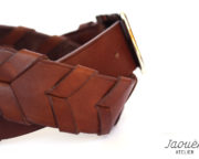 ceinture en cuir tressée chocolat